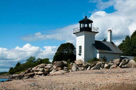 guiding light: Bristol Ferry Lighthouse in Rhode Island. Stock Photo