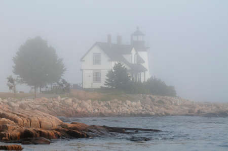 prospect: Maines Prospect Harbor lighthouse guides mariners during foggy weather.