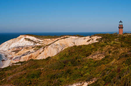 Gay Head lighthouse, also referred to as Aquinnah lighthouse, lies within community of Wampanoag Native Americans on Marthas Vineyard Island, in Massachusetts. Stock Photo