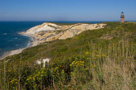 wampanoag: Gay Head light, or referred also as Aquinnah lighthouse sits atop sandy cliffs on marthas Vineyard in Massachusetts.