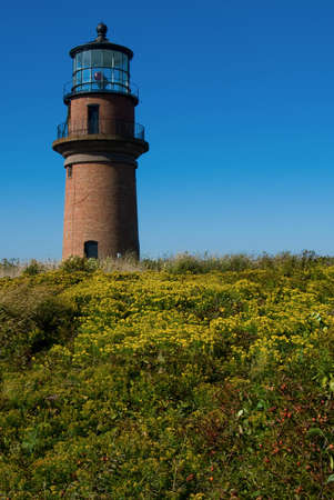 wampanoag: Gay Head Acquinnah Light on Marthas Vineyard is located on Wampanoag Native American lands. Stock Photo
