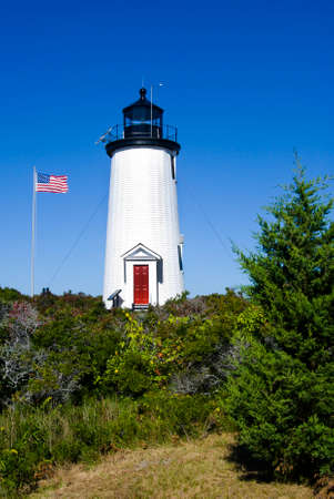 guiding light: Cape Pogue lighthouse on Marthas Vineyard in Massachusetts. Stock Photo