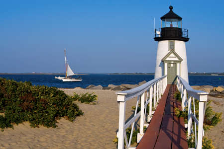 Brant Point lighthouse on Nantucket Island is a favorite tourist attraction. Reklamní fotografie