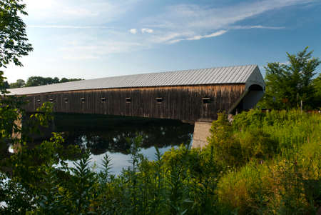 longest: Cornish Windsor bridge is the longest wooden covered bridge in America. Stock Photo