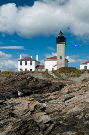 seacoast: Beavertail lighthouse sits on unique rock formations along the Rhode Island seacoast.