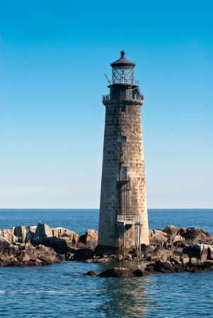 Graves Lighthouse, of stone construction, in Boston harbor