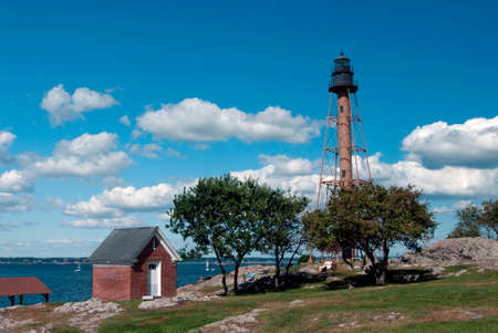 chandler: Marblehead Lighthouse is located in Chandler Hovey Park in Massachusetts. Stock Photo