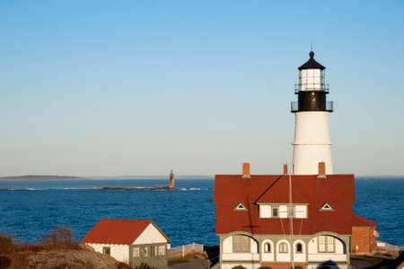 Portland Head lighthouse, along with Ram Island light, guide mariners from Casco Bay into Portland Harbor in Maine. Portland Head is the oldest lighthouse in Maine.