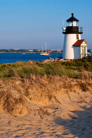 Brant Point Lighthouse is the lowest light in New England, with its tower located at 26 feet above sea level. Фото со стока - 97356855