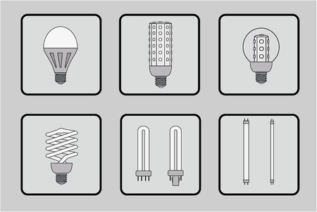 light emitting diode: Set of light bulbs of various designs Illustration