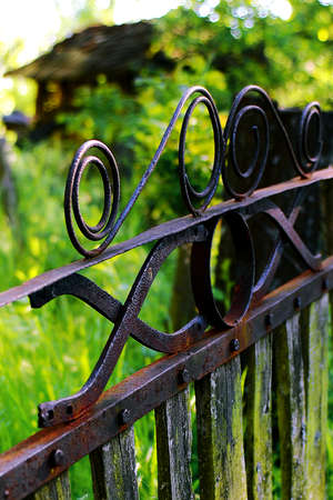 sentimental: Old rusty fence in the country Stock Photo