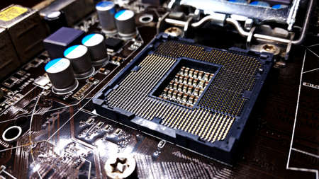 Socket from a motherboard Stock Photo