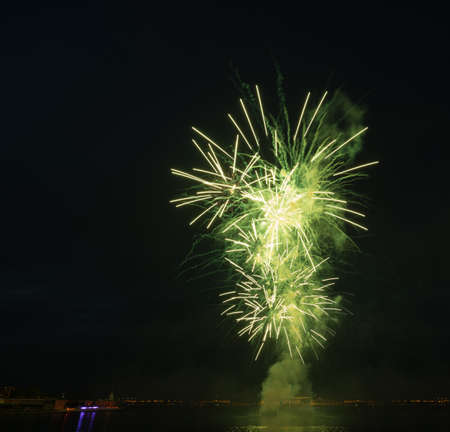 night city celebration holiday bright firework above river long exposure shoot 免版税图像