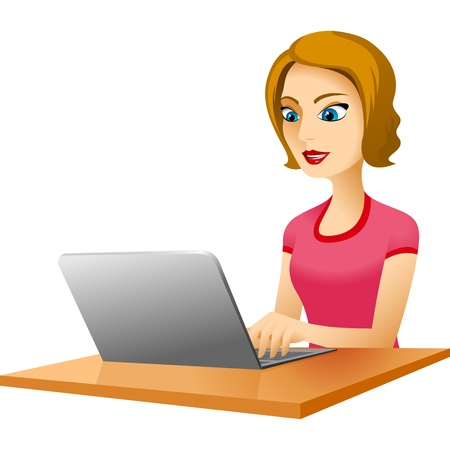 The young woman with enthusiasm works with the laptop, sitting at a table Banco de Imagens - 20665901