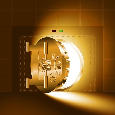 銀行の金庫室; の半分開いているドアを通って光ゴールド バージョン  イラスト・ベクター素材