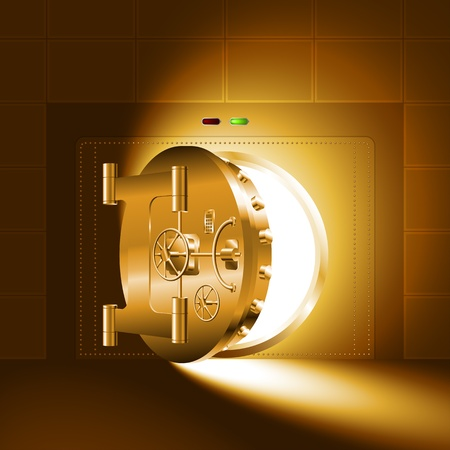 safe box: Light through a half-open door of the bank vault; The gold version