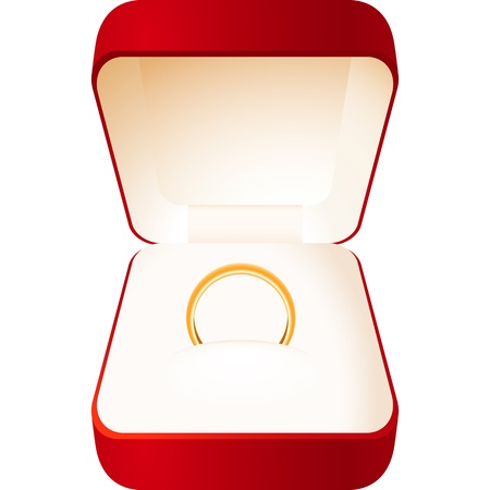 Red jewelry box with a gold wedding ring