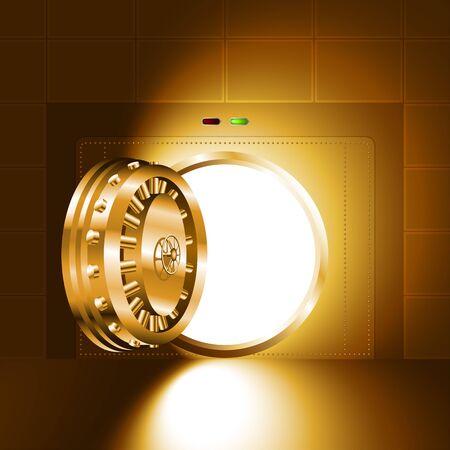 銀行の金庫室のオープンドアを通って光ゴールド バージョン