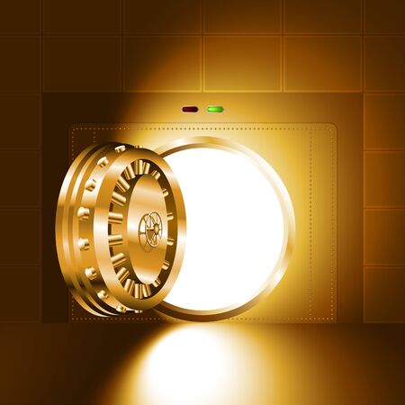 Light through an open door of the bank vault; The gold version Ilustração