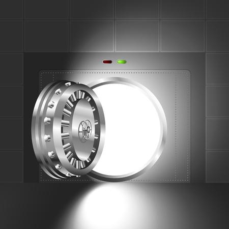 銀行の金庫室のオープンドアを通って光鋼のバージョン