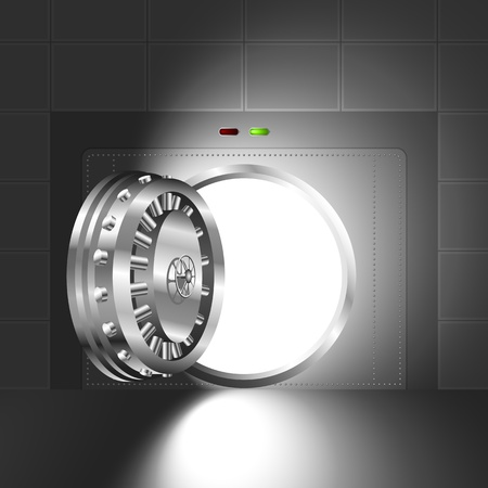 Luce attraverso una porta aperta del caveau di una banca; La versione in acciaio Archivio Fotografico - 21058185
