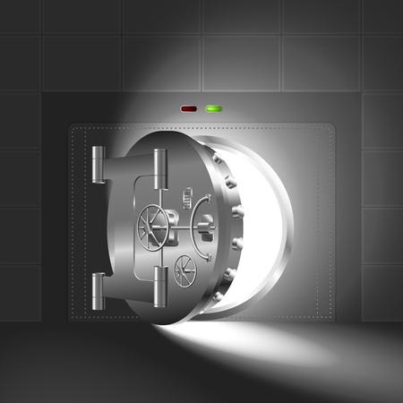 bank vault: Light through a half-open bank vault; The steel version Illustration