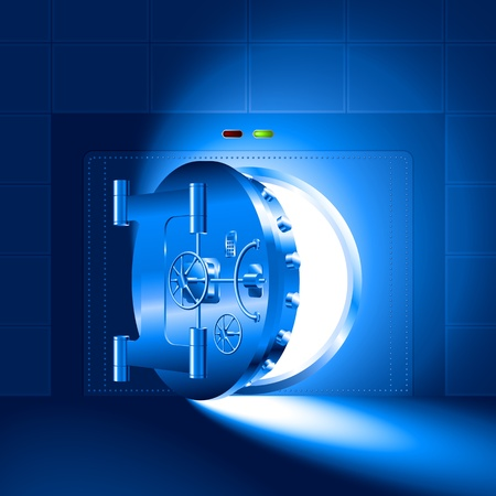 version: Light through a half-open bank vault; The blue version Illustration