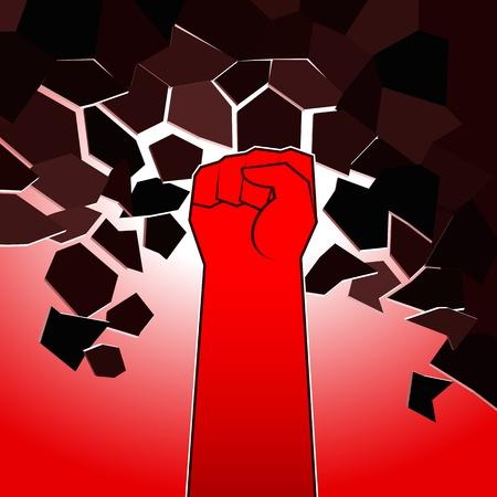 destroying: Red destroying fist