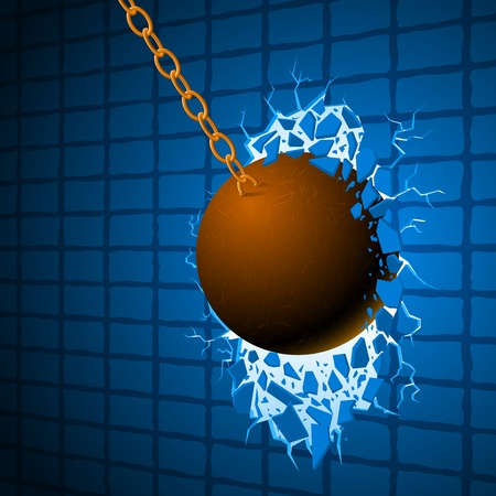 レッキング ボール青い壁を壊すし、自由への道をリリース