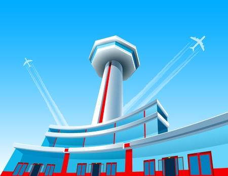 航空機が空港の上脱いでください。EPS8  イラスト・ベクター素材