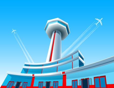 De vliegtuigen opstijgen boven de luchthaven; EPS8 Stock Illustratie