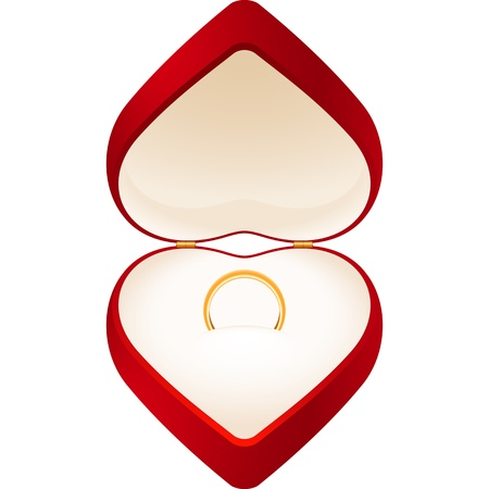 Red jewelry box in the form of heart with a gold wedding ring; EPS8