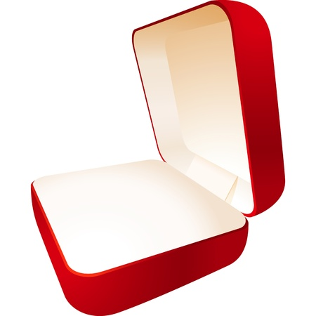Red jewelry box in a perspective view; EPS8