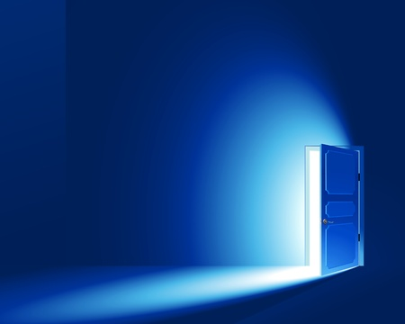 door: Light in a room through the open door; EPS8; CMYK-version; No Meshes