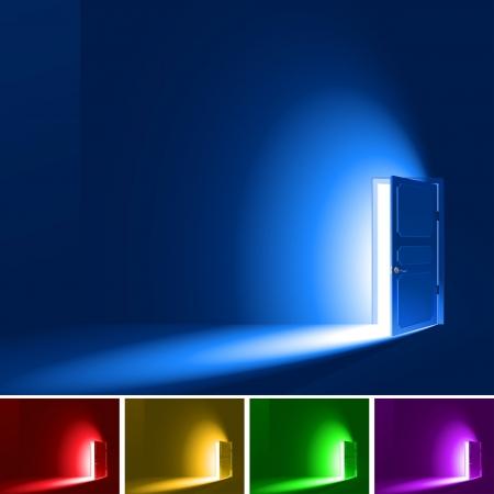 La luz en una habitación a través de la puerta abierta, EPS8, RGB-versión; No mallas