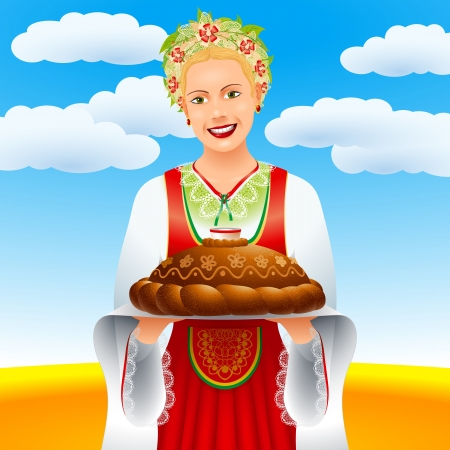 wheaten: The girl with a loaf on a wheaten field; EPS-8