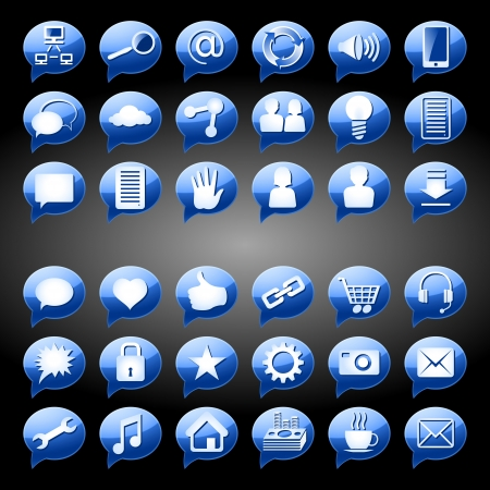 Set of icons, signs and buttons on a subject Social Media; Blue version; EPS8 Vector
