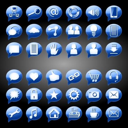 Set van pictogrammen, tekens en knoppen op een onderwerp Social Media, Blue-versie; EPS8