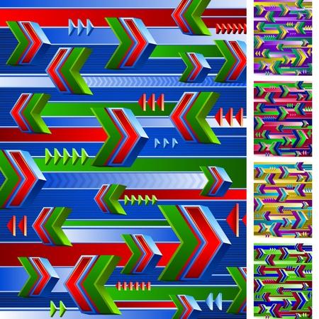 Achtergrond van vliegende pijlen Bovendien set van 4 opties van verschillende kleurencombinaties Stock Illustratie