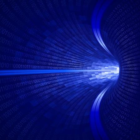 Blue binary tunnel Ilustrace