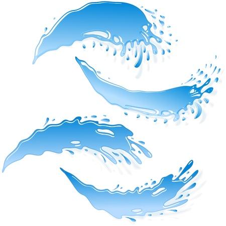 水のジェットの形で作られた水のバナーEPS8  イラスト・ベクター素材