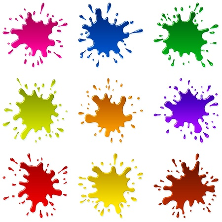 Set of multicolored blots and sparks of a paint; EPS8 Ilustração