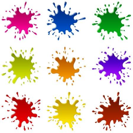 Set van veelkleurige vlekken en vonken van een verf; EPS8 Stock Illustratie