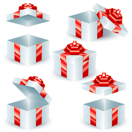 box open: Square gift boxes with red ribbons and bows Illustration