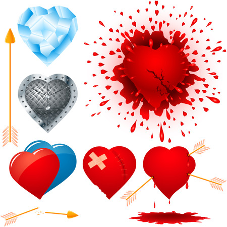 maim: Set of different hearts