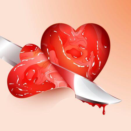 심장 모양의 고기 조각 절단
