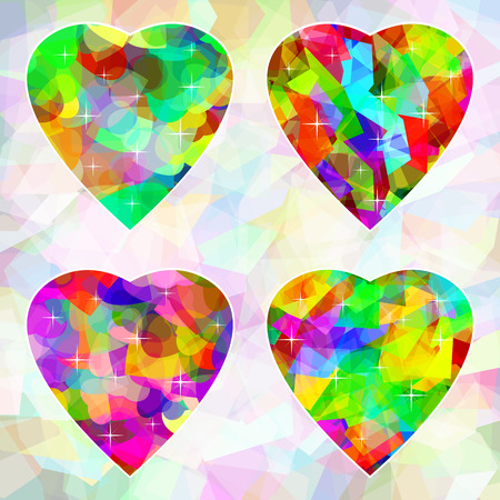 Multi-colored abstract hearts on light from different shapes