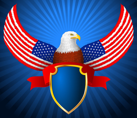 Bald eagle with shield and ribbon with wings in the form of flag of America