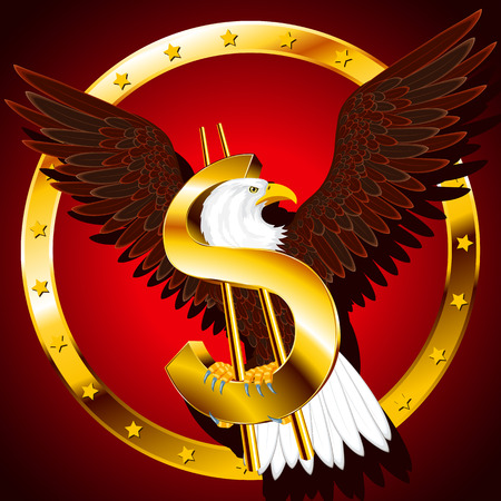 The American symbols - an eagle and dollar - on a background; Eps8 Vector