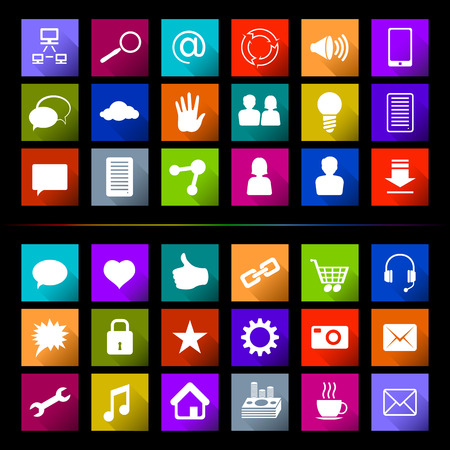 windows 8: Set of flat icons, signs and buttons on a subject Social Media; Eps8